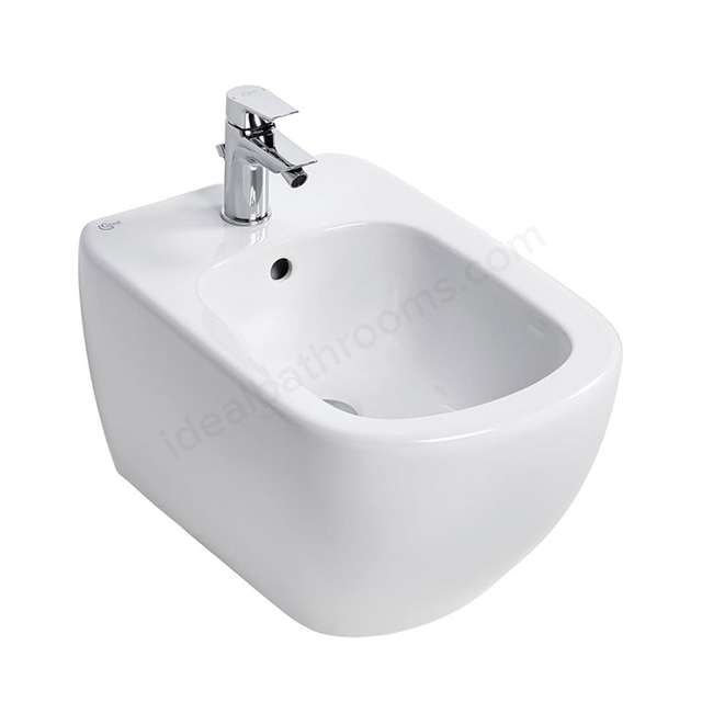 Ideal Standard TESI Wall Hung Bidet; 1 Tap Hole; White
