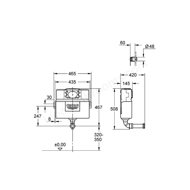 Grohe Eau26 Wc Flushing Cistern Dual Flush 082m Chrome Ideal