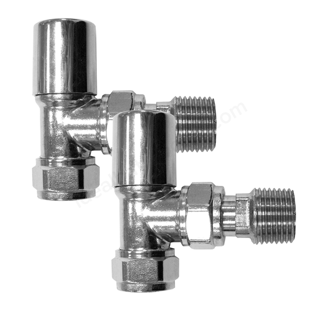 Essential STANDARD Radiator Valves; Angled Valve; 15mm Pipe; Chrome