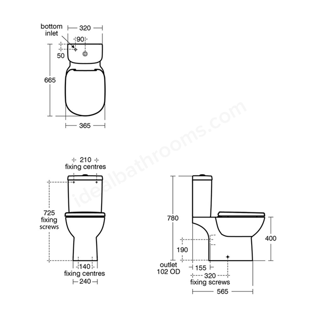 Ideal Standard TEMPO Close Coupled Cistern, Dual Flush 4/2.6 Litre, White