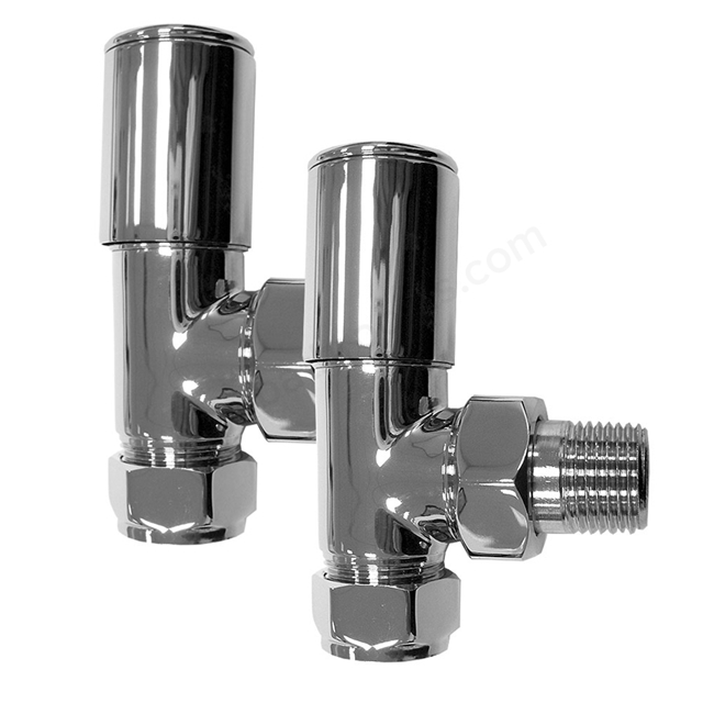 Essential DELUXE Radiator Valves, Angled Valve, 15mm Pipe, Chrome