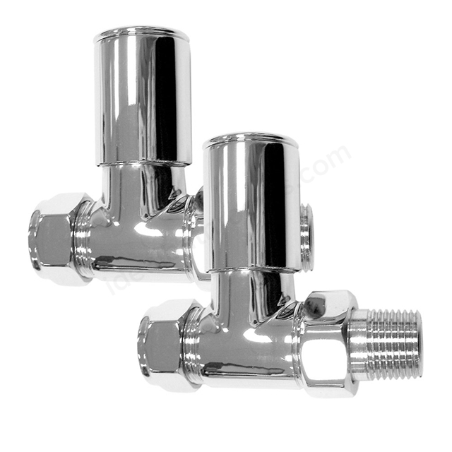 Essential DELUXE Radiator Valves, Straight Valve, 15mm Pipe, Chrome