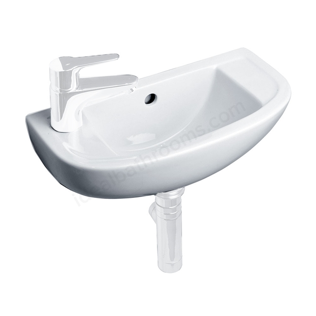 Essential LILY Handrinse Basin Only, Left Handed, 450mm Wide, 1 Tap Hole, White