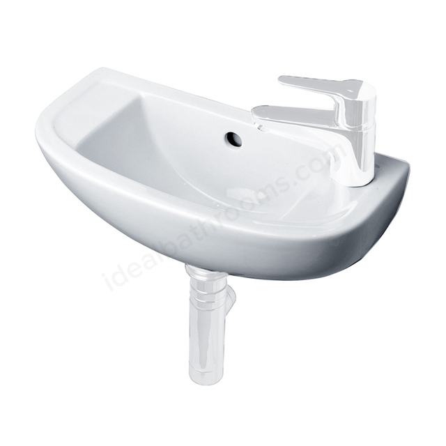 Essential LILY Handrinse Basin Only, Right Handed 450mm Wide, 1 Tap Hole, White