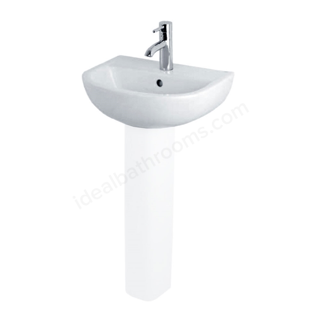 Essential LILY Pedestal Basin Only, 450mm Wide, 1 Tap Hole, White