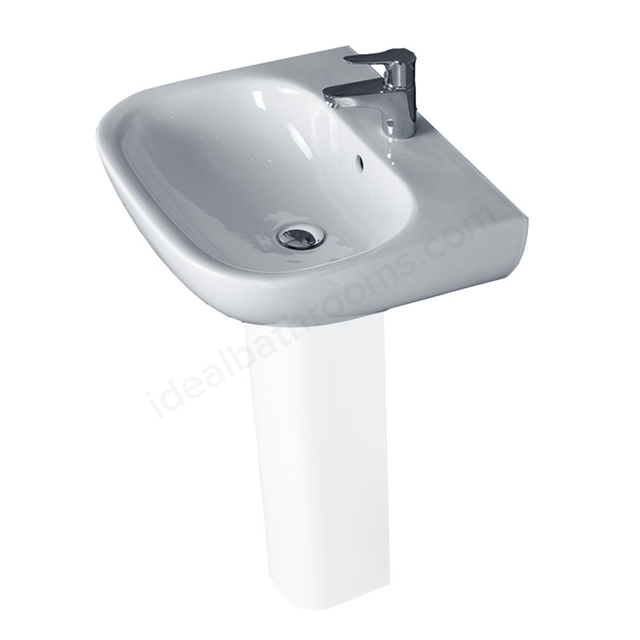 Essential LILY Pedestal Basin Only, 550mm Wide, 1 Tap Hole, White