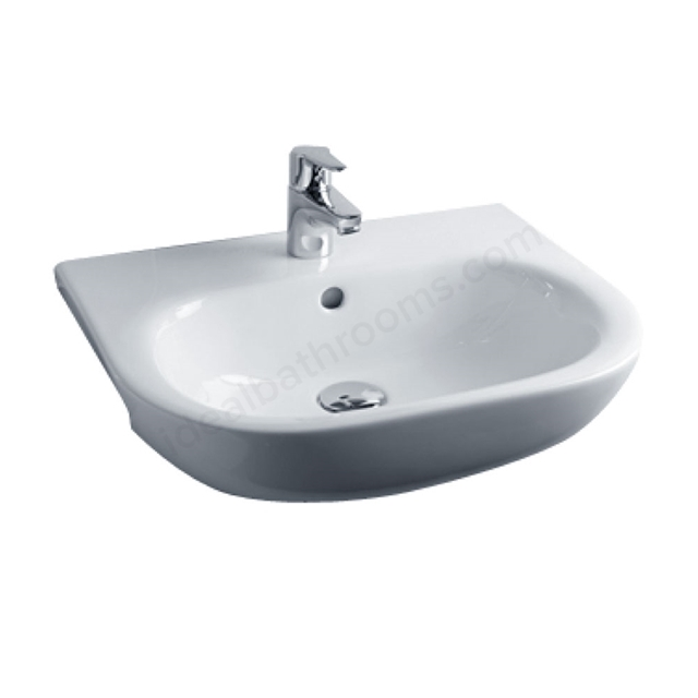 Essential LILY Semi Recessed Basin Only, 520mm Wide, 1 Tap Hole, White