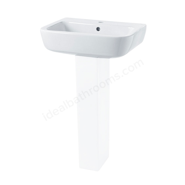 Essential ORCHID Pedestal Basin Only, 520mm Wide, 1 Tap Hole, White