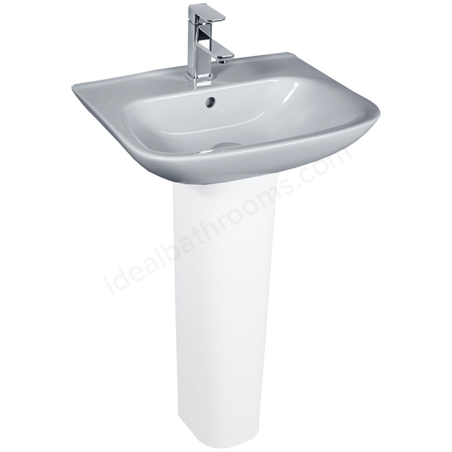 Essential VIOLET Pedestal Basin Only, 520mm Wide, 1 Tap Hole, White