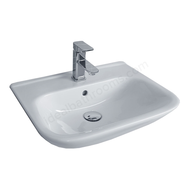 Essential VIOLET Semi Recessed Basin Only, 520mm Wide, 1 Tap Hole, White