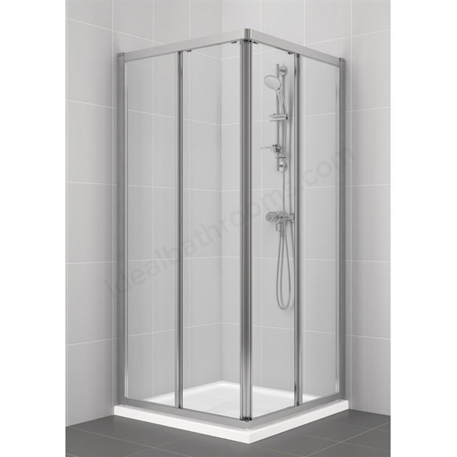Ideal Standard CONNECT Corner Entry Enclosure Panels; 4MM Glass; 900x900mm; Silver Frame