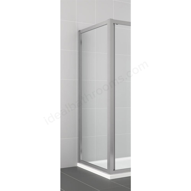Ideal Standard CONNECT Fixed Side Panel; 4MM Glass; 900mm; Silver Frame