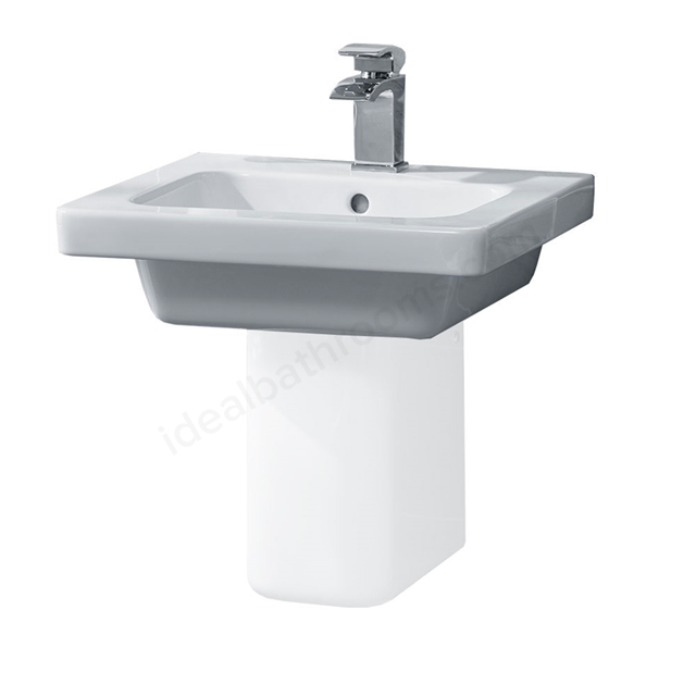 Essential IVY Pedestal Basin Only, 500mm Wide, 1 Tap Hole, White
