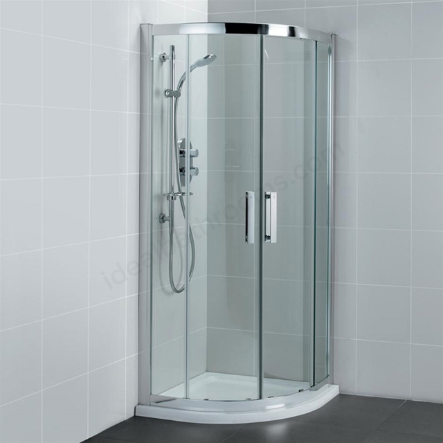 Ideal Standard SYNERGY Quadrant Enclosure Panels, IdealClean 8MM Glass, 1000x1000mm, Bright Silver Frame