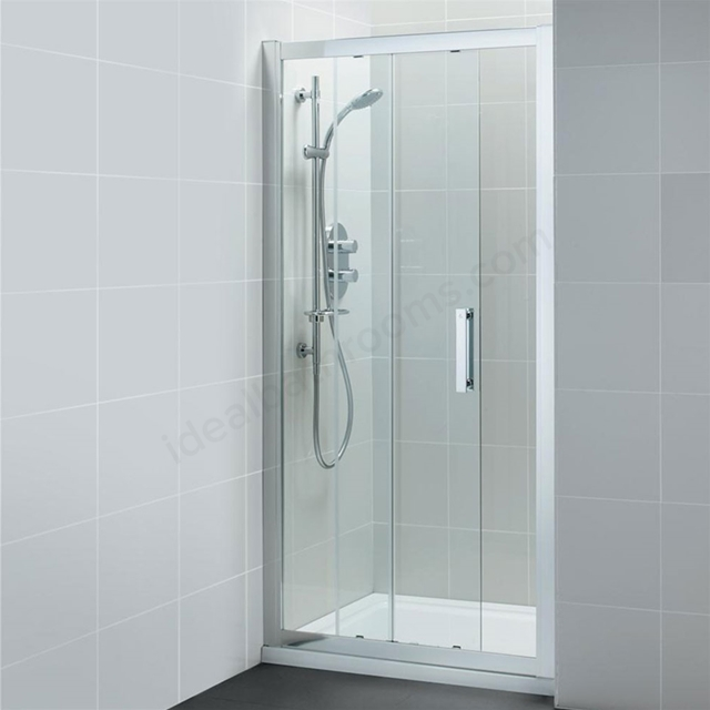 Ideal Standard SYNERGY Sliding Shower Door; IdealClean 8MM Glass; 1000mm; Bright Silver Frame