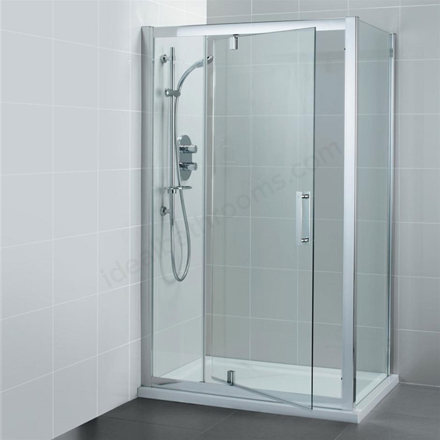 Ideal Standard SYNERGY Pivot Shower Door and Panel; IdealClean 8MM Glass; 1200mm; Bright Silver Frame