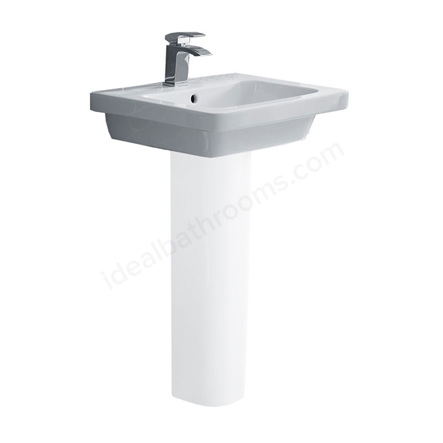 Essential IVY Pedestal Basin Only, 550mm Wide, 1 Tap Hole, White