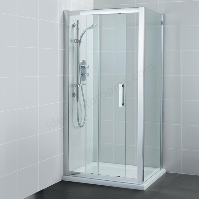 Ideal Standard SYNERGY Sliding Shower Door; IdealClean 8MM Glass; 1400mm; Bright Silver Frame