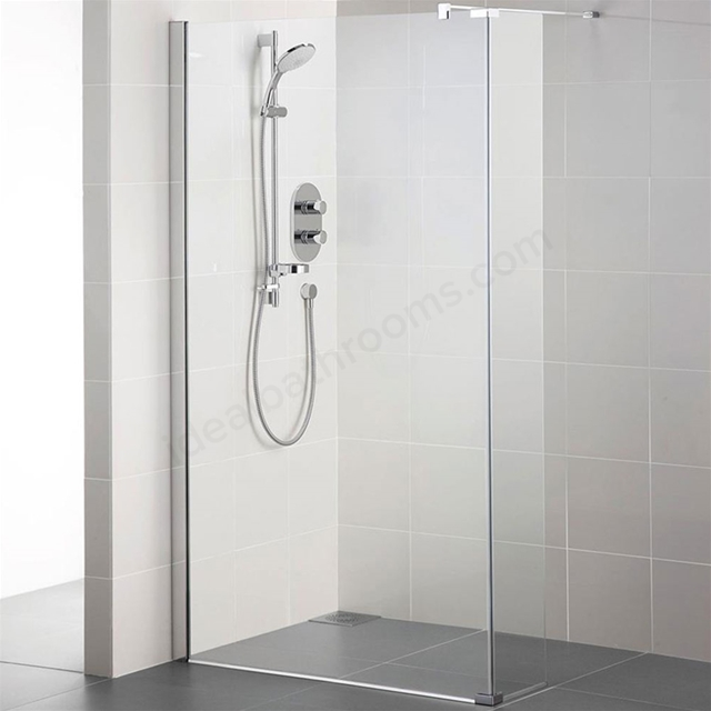 Ideal Standard SYNERGY Wetroom Panel; IdealClean 8MM Glass; 1400mm; Bright Silver Frame