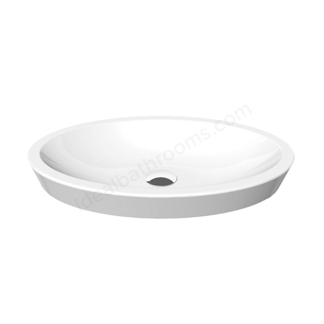Essential IVY Vessel Oval Basin Only, 580mm Wide, 0 Tap Hole, White