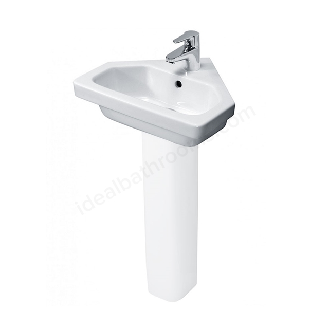 Essential IVY Corner Pedestal Basin Only; 450mm Wide; 1 Tap Hole; White