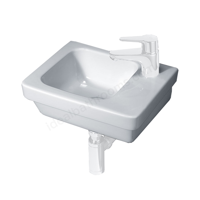 Essential IVY Slimline Basin Only; 360mm Wide; Right Handed 1 Tap Hole; White