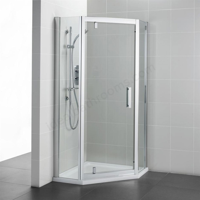Ideal Standard SYNERGY Pivot Pentagon Enclosure Panels; IdealClean 8MM Glass; 800x800mm; Bright Silver Frame