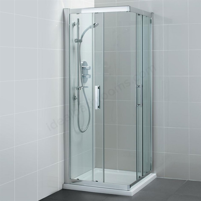 Ideal Standard SYNERGY Corner Entry Enclosure Panels; IdealClean 8MM Glass; 900x900mm; Bright Silver Frame