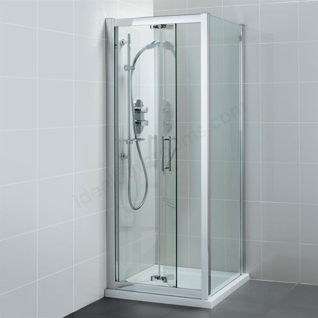 Ideal Standard SYNERGY Infold Shower Door; IdealClean 8MM Glass; 900mm; Bright Silver Frame