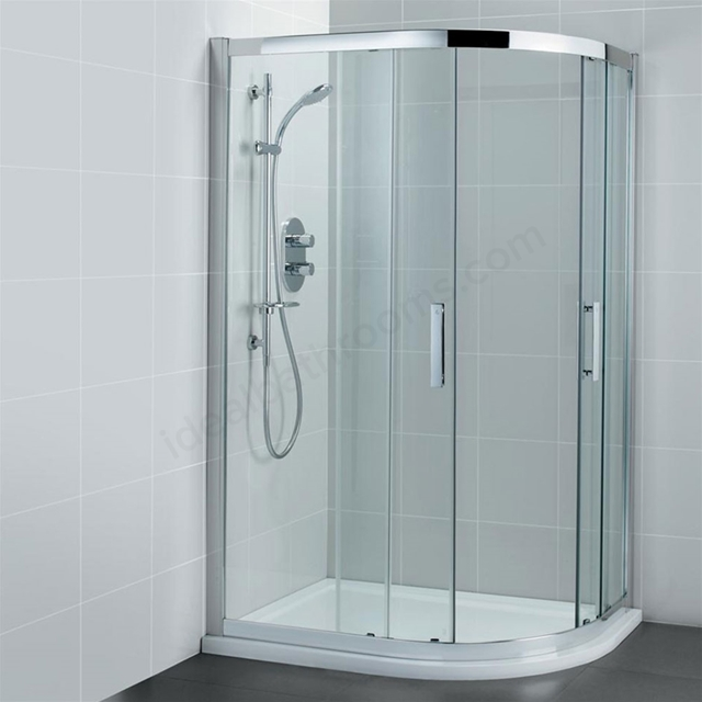 Ideal Standard SYNERGY Offset Quadrant Enclosure Panels; IdealClean 8MM Glass; 900x800mm; Bright Silver Frame