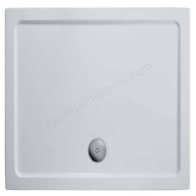 Ideal Standard IDEALITE Rectangular Low Profile Shower Tray + Waste; Flat Top; 900x760mm; White