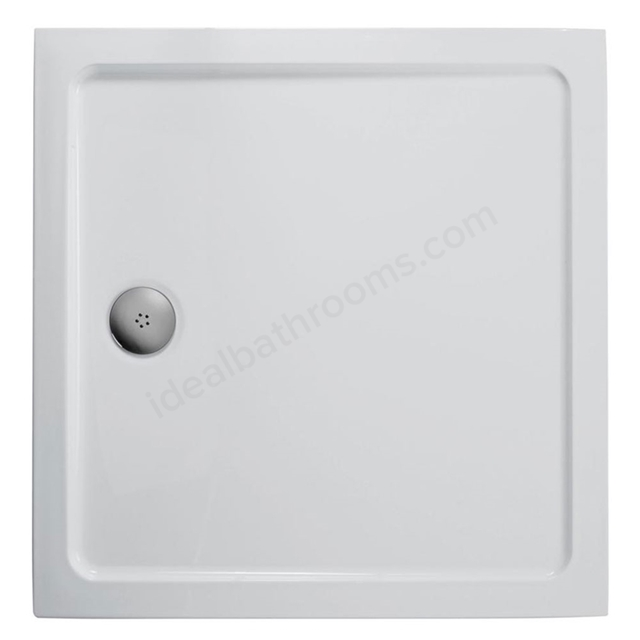 Ideal Standard IDEALITE Square Low Profile Shower Tray + Waste; Flat Top; 760x760mm; White