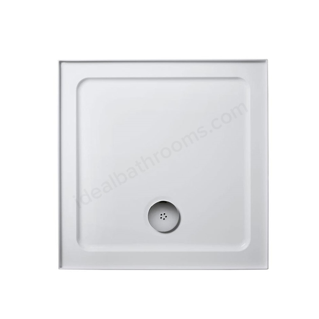 Ideal Standard IDEALITE Square Low Profile Shower Tray + Waste; Upstand; 760x760mm; White