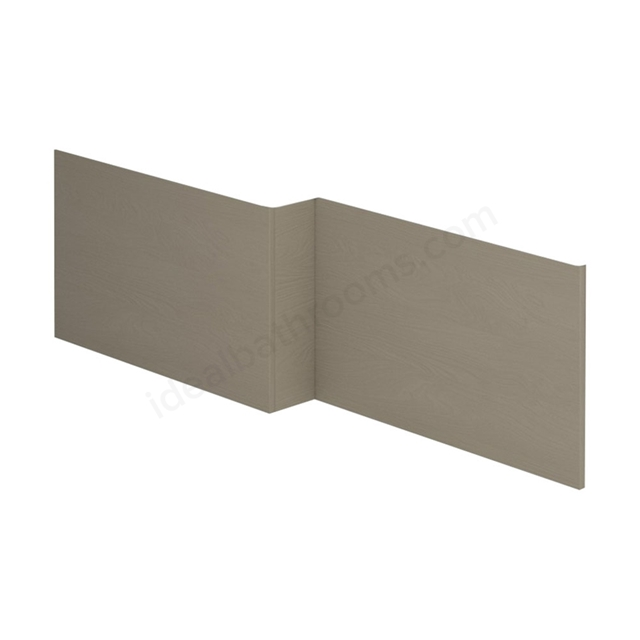 Essential VERMONT MDF L Shape Showerbath Front Bath Panel; 1700mm Wide; Light Grey
