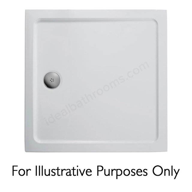 Ideal Standard IDEALITE Square Low Profile Shower Tray + Waste; Flat Top; 900x900mm; White