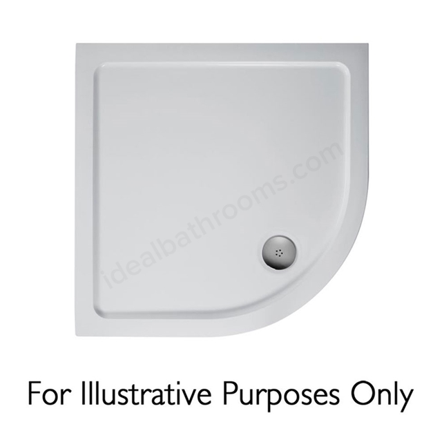 Ideal Standard IDEALITE Quadrant Low Profile Shower Tray + Waste; Flat Top; 900x900mm; White