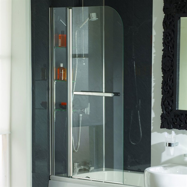 Essential CASCADE Curved Bath Screen; 800mm Wide x 1400mm High; 5MM & 6MM Glass