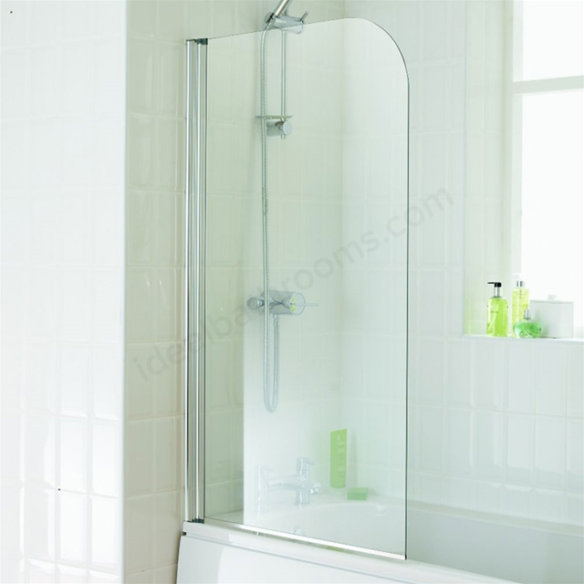 Essential ELEMENT Curved Bath Screen, 750mm Wide x 1300mm High, 4MM Glass