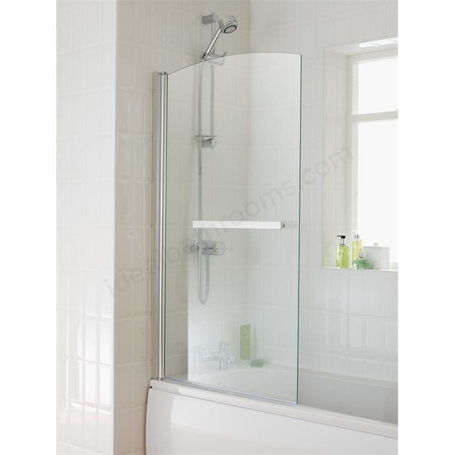 Essential TWILIGHT Sail Bath Screen; 800mm Wide x 1400mm High; 6MM Glass