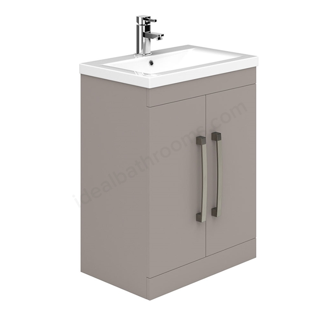 Essential NEVADA Floor Standing Washbasin Unit + Basin; 2 Door; 600mm Wide; Cashmere