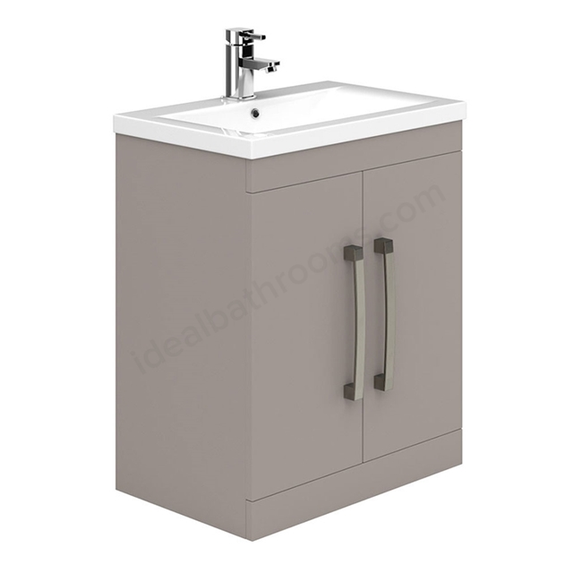 Essential NEVADA Floor Standing Washbasin Unit + Basin; 2 Door; 800mm Wide; Cashmere