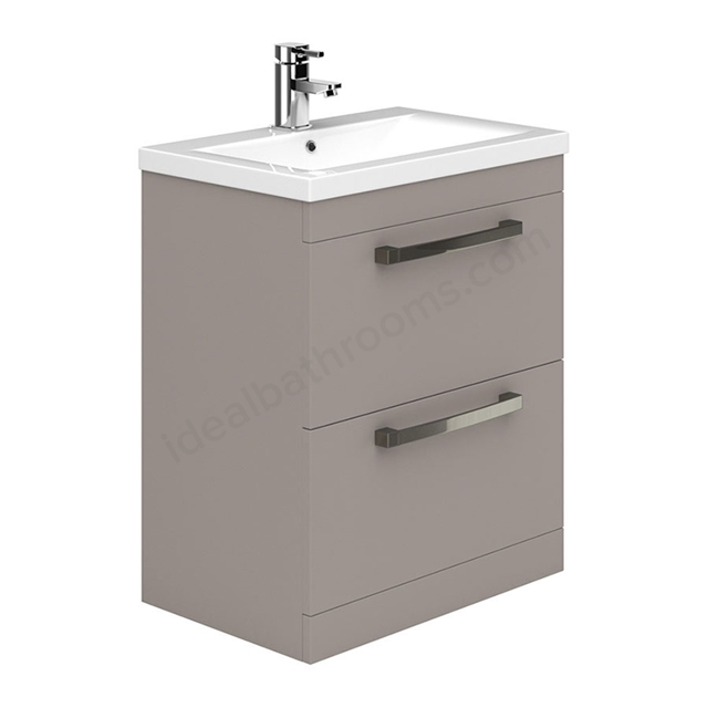 Essential NEVADA Floor Standing Washbasin Unit + Basin; 2 Drawers; 800mm Wide; Cashmere