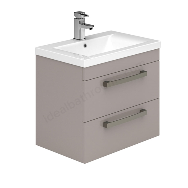 Essential NEVADA Wall Hung Washbasin Unit + Basin; 2 Drawers; 600mm Wide; Cashmere