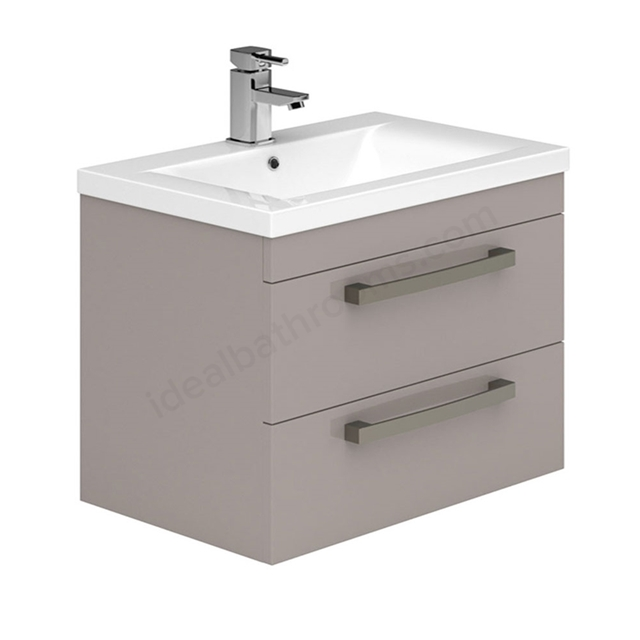 Essential NEVADA Wall Hung Washbasin Unit + Basin; 2 Drawers; 800mm Wide; Cashmere