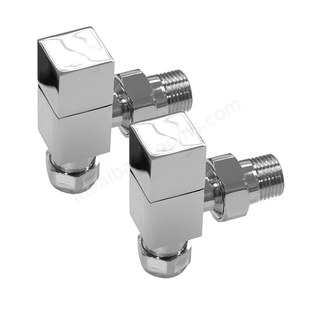 Essential SQUARE Radiator Valves; Angled Valve; 15mm Pipe; Chrome