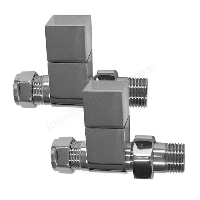 Essential SQUARE Radiator Valves; Straight Valve; 15mm Pipe; Chrome