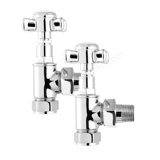 Essential CROSSHEAD Radiator Valves, Angled Valve, 15mm Pipe, Chrome