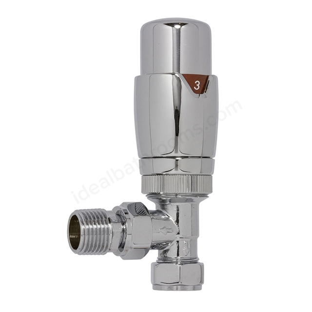 Essential THERMOSTATIC Radiator Valves; Angled Valve; 15mm Pipe; Chrome
