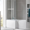 Essential KENSINGTON L Shape Shower Bath Pack; Left Handed; 1700x850mm; 0 Tap holes; White