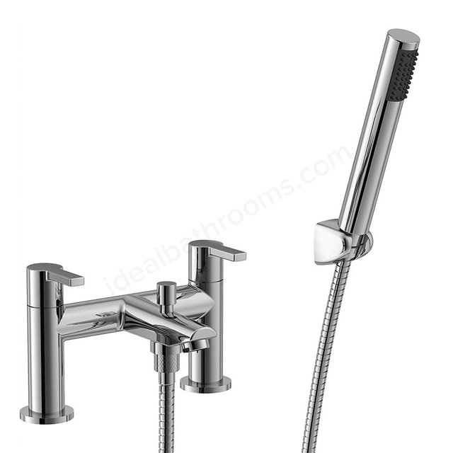Essential DAWN Bath Shower Mixer Tap; 2 Tap Hole; Handset and Hose; Chrome